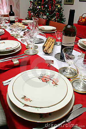 Free Christmas Table Setting Royalty Free Stock Photography - 1177117