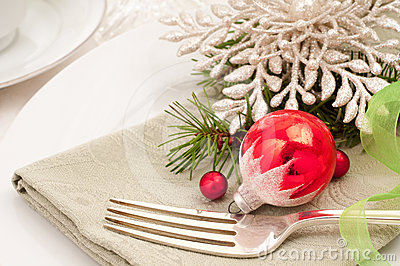 Christmas Table Setting Closeup Horiztonal