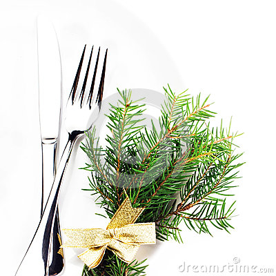 Christmas table setting with festive decorations and copy space