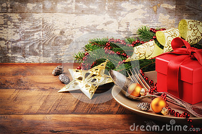 Christmas table setting with gift