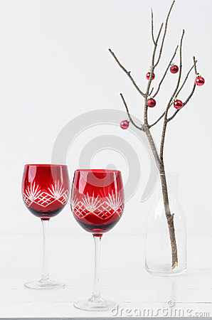 Free Christmas Table With Wine Glasses Royalty Free Stock Images - 58028249