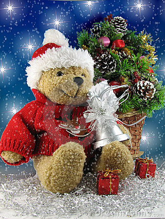 Free Christmas Teddy Bear Stock Photography - 408572