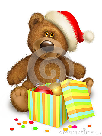 Christmas Teddy bear with box