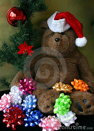 Christmas Teddy Bear Wearing Santa s Hat