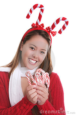 Christmas teen and candy canes