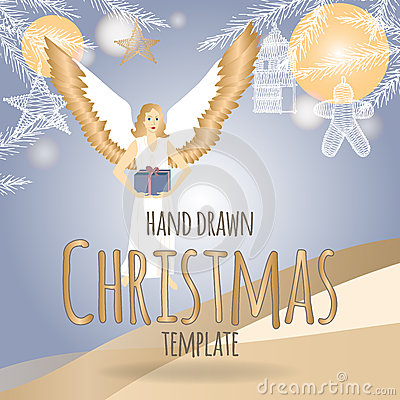 Christmas template with angel holding a present stock for Angel decoration template