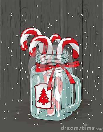 Free Christmas Theme, Candy Canes In Glass Jar With Red Ribbon , Illustration Stock Photo - 101374500