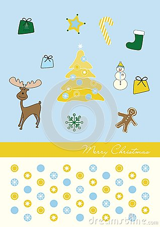 Christmas three gold blue background