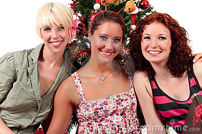 Christmas for three young attractive women