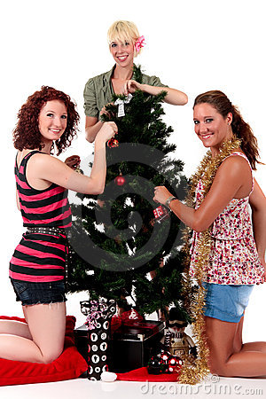 Christmas,three young happy women
