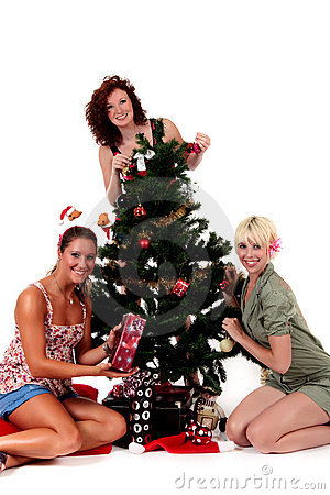 Christmas, three young happy women