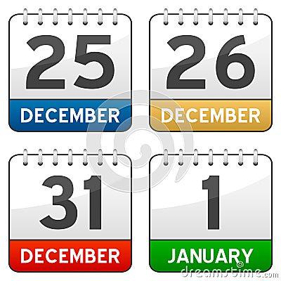 Christmas Time Calendar Icons