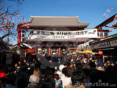Christmas time in a temple in Asakusa Editorial Stock Photo