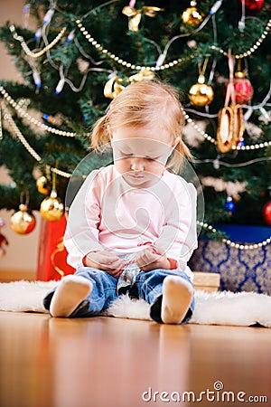 Christmas toddler girl portrait