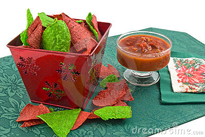 Christmas tortilla chips and salsa