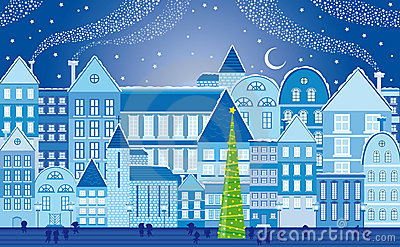 Christmas town at night Stock Photo