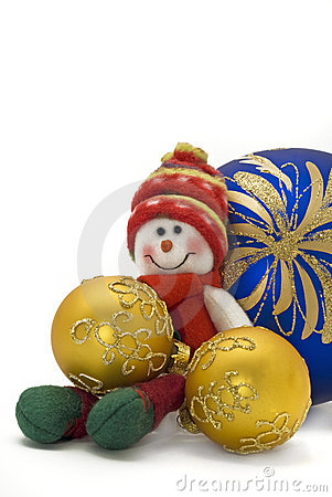 Christmas toy with three colorful New Year Balls