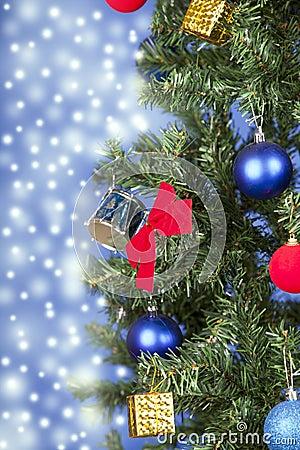 Christmas toys on a tree