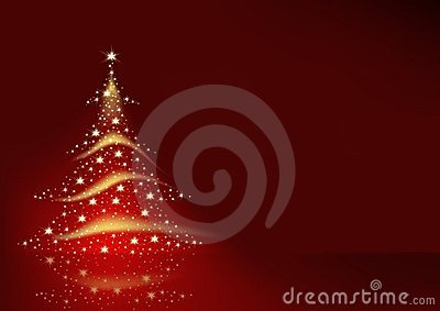 Christmas Tree from Stars on Red Background