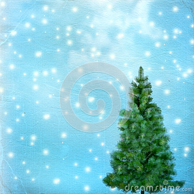 Christmas tree on abstract green  background