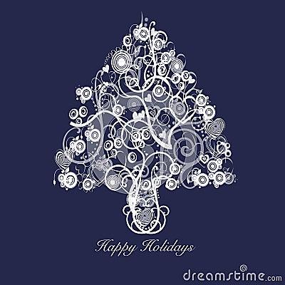 Christmas Tree Abstract Swirls Hearts Circles