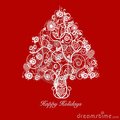 Christmas Tree Abstract with Swirls Hearts Circles
