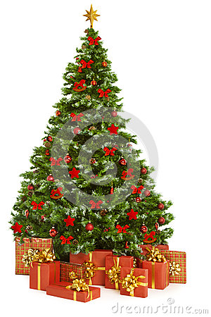 Free Christmas Tree And Presents Gifts, Xmas Tree Toys On White Royalty Free Stock Image - 61648606