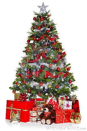 Free Christmas Tree And Presents Isolated On White Royalty Free Stock Images - 22180109