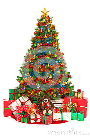 Free Christmas Tree And Presents Isolated On White Stock Photography - 34067882