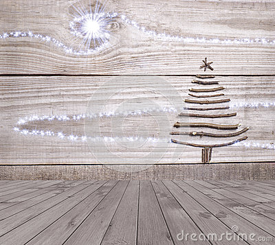 Free Christmas Tree Arranged From Sticks On Empty Wooden Deck Table On Sparkly Grey Background. Ready For Product Display Montage Stock Photography - 61897282