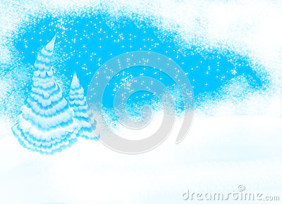 Christmas tree background with snow