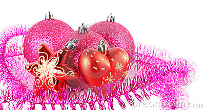 Christmas tree balls behind star and heart Stock Photo