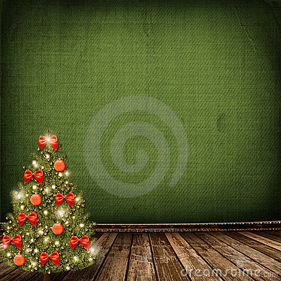 Christmas tree with balls and bows