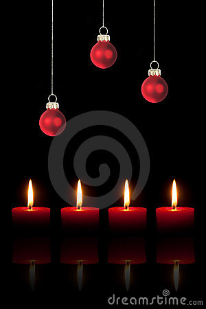 Christmas tree balls and four candles