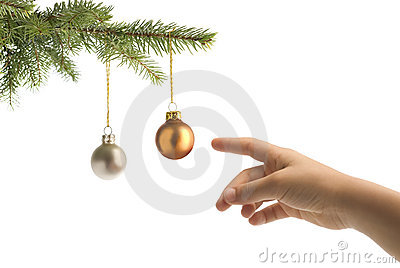 Christmas tree balls and hand