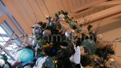 Christmas tree with balls and ornaments stock video video