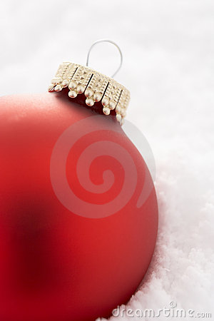 Christmas Tree Bauble In Snow
