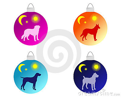 Christmas tree baubles with dog motifs