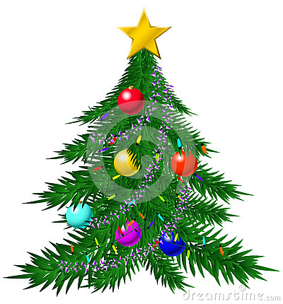 Christmas tree with baubles and garlands