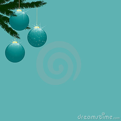 Free Christmas Tree Baubles On Turquoise Stock Photo - 11537340