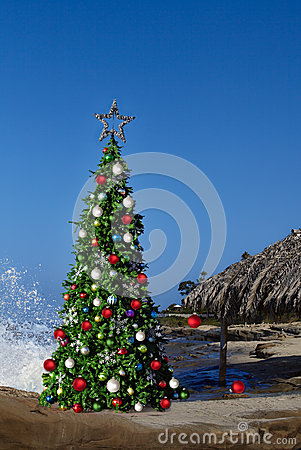 Christmas Tree On Beautiful Tropical Beach Thatched Palm Palapa