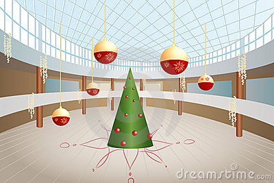 Christmas tree and big balls in shop