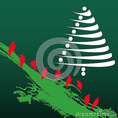 Christmas tree and birds