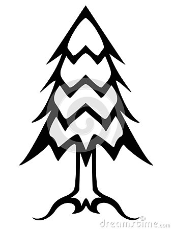 Christmas tree black and white linear picture. Outline conifer tree vector illustration. Vector Illustration