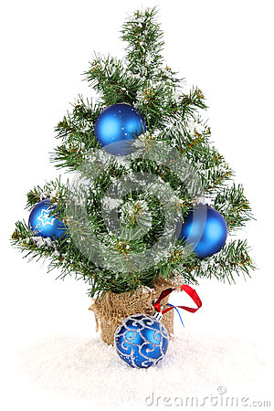 Christmas tree with blue decoration