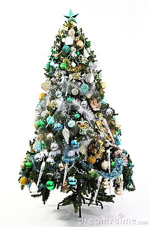 Free Christmas Tree Blue, Green And Gold Stock Photography - 17232712