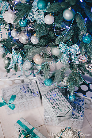 Blue And Silver Decorations Of Christmas Tree Stock Photos - Image ...