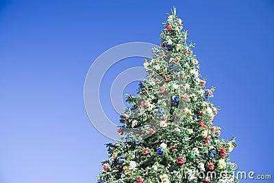 Christmas tree on blue sky background