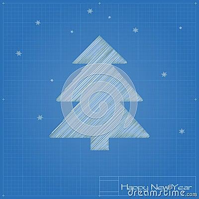 Christmas tree on blueprint.
