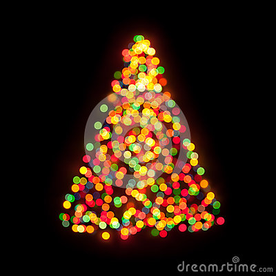Christmas tree bokeh ligh